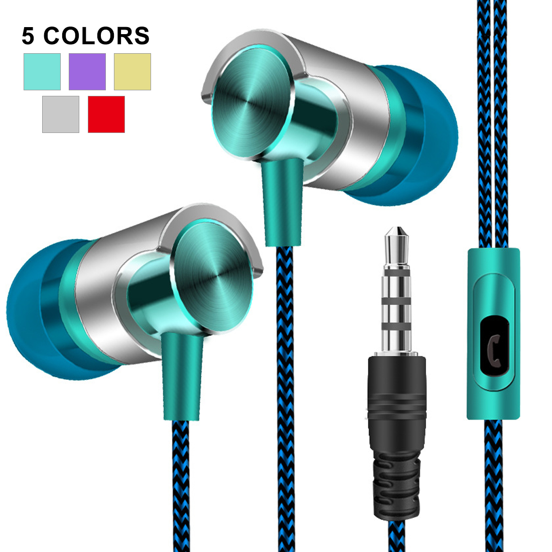 Universal 3.5mm In-Ear Stereo Earbuds Earphone With Mic For Cell Phone Auriculares Fone-de-ouvido