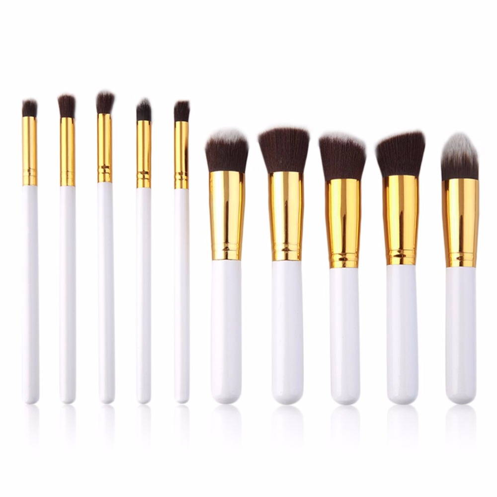 10pcs Professional Makeup Brushes Set Aluminum&Wood Handle Soft Bristle Hair Powder Foundation Cosmetics Make Up Brush Tool new new arrival make up professional brand luxury classic wood handle wavy hair lightweight no 130 large dome shaped powder brush