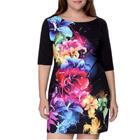 5XL 6XL Plus Size Women Clothing 2016 Big Size Elegant Women Dress Print Half Sleeve Black