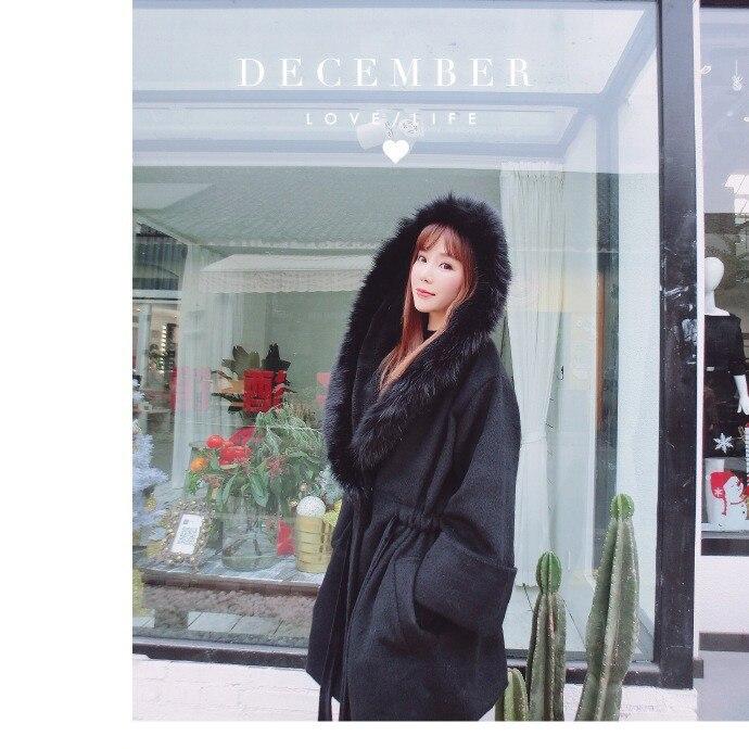 Renard Beige Avec Pour Laine Pur 80008 gris Femmes Velours Les noir Fourrure 2018 Porter Et Couleur Automne De Produits Wollen Pardessus D'hiver qFPHrq