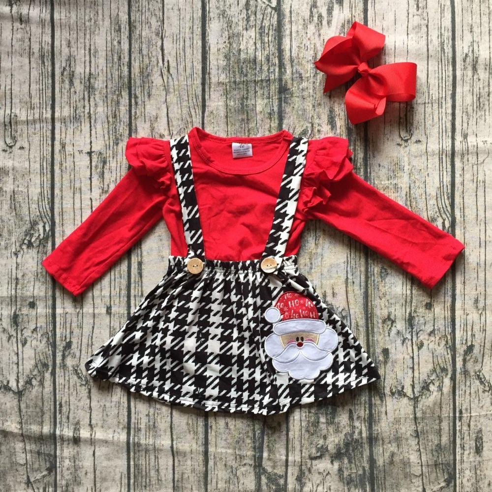 Christmas fall/winter baby girls clothes cotton red Aztec Santa halter top Button Straps dress boutique flare sleeve match bow недорго, оригинальная цена