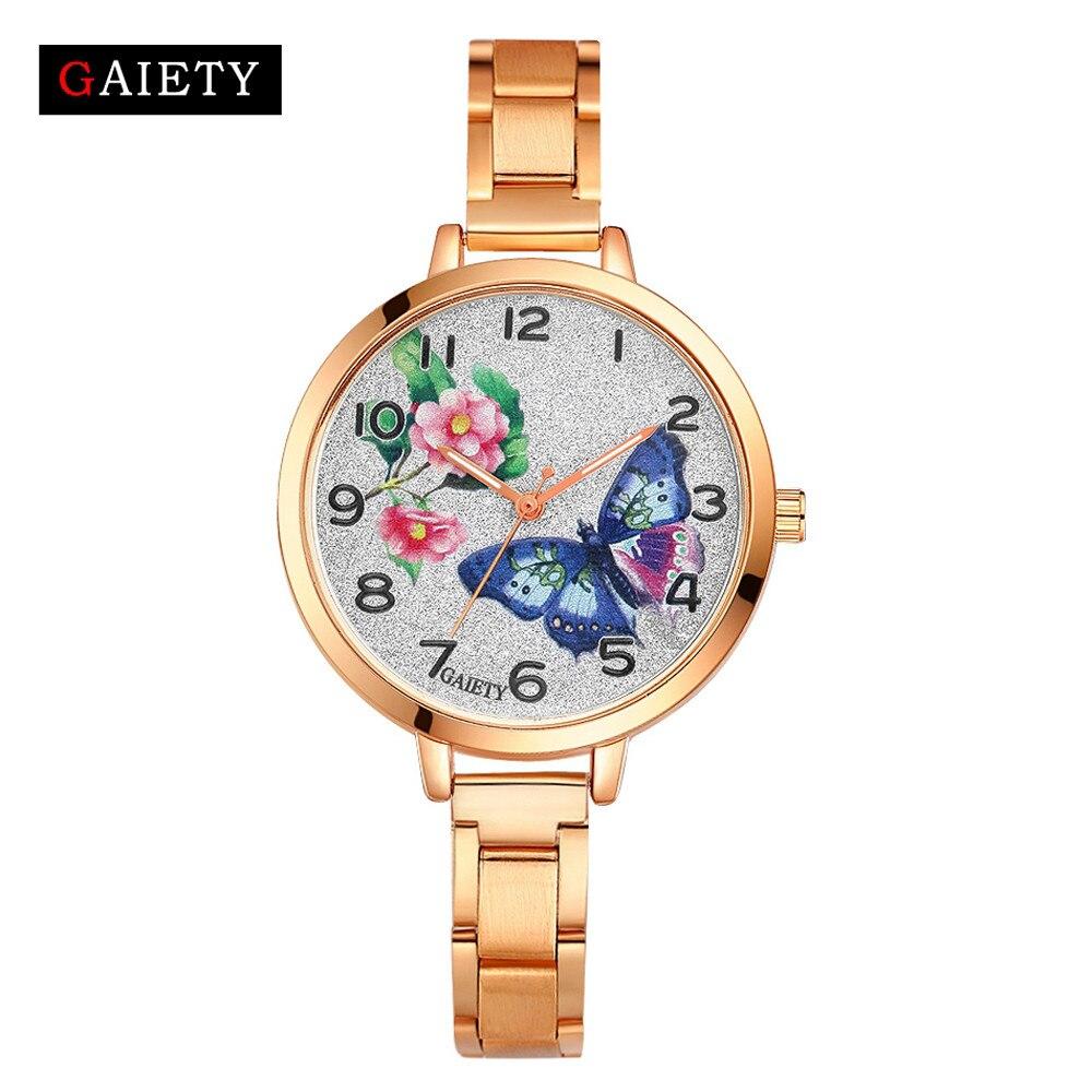 Luxury Brand Rose Gold Women Watch Fashion Casual Butterfly Print Flash Dial Dress Wristwatch Stainless Steel Quartz Watch #B