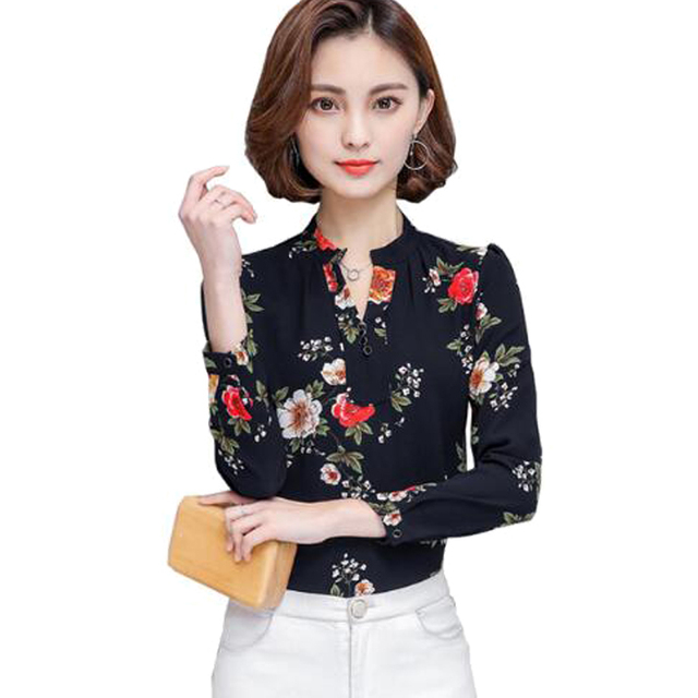 4a6028d8d8 Women Spring Summer Nice Tops Chiffon Blouse Long Sleeve Women Shirts New  Print Plus Size Loose Elegant Office Lady s Blouses