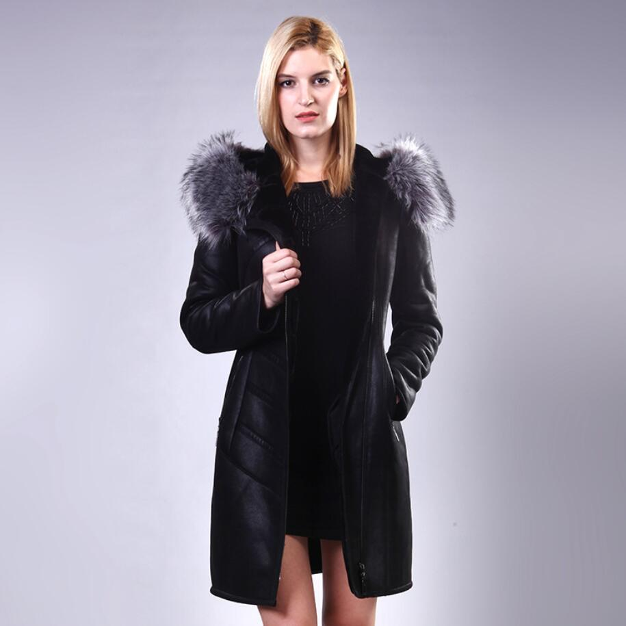 New Fur Collar   Leather   Jacket Long Winter Women Large Size Middle-aged Women Slim Hooded Warm   Leather   Jacket Female M-7XL WYT303