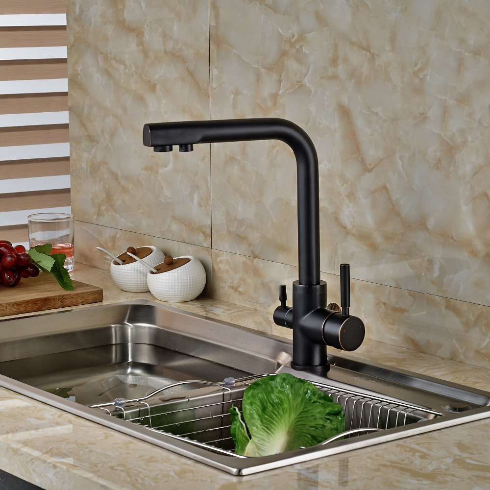 Wholesale And Retail Oil Rubbed Bronze Brass Kitchen Faucet Dual Holder Single Hole Pure Water Tap Deck Mounted Swivel Spout Tap free postage oil rubbed bronze tooth brush holder double ceramic cups holder