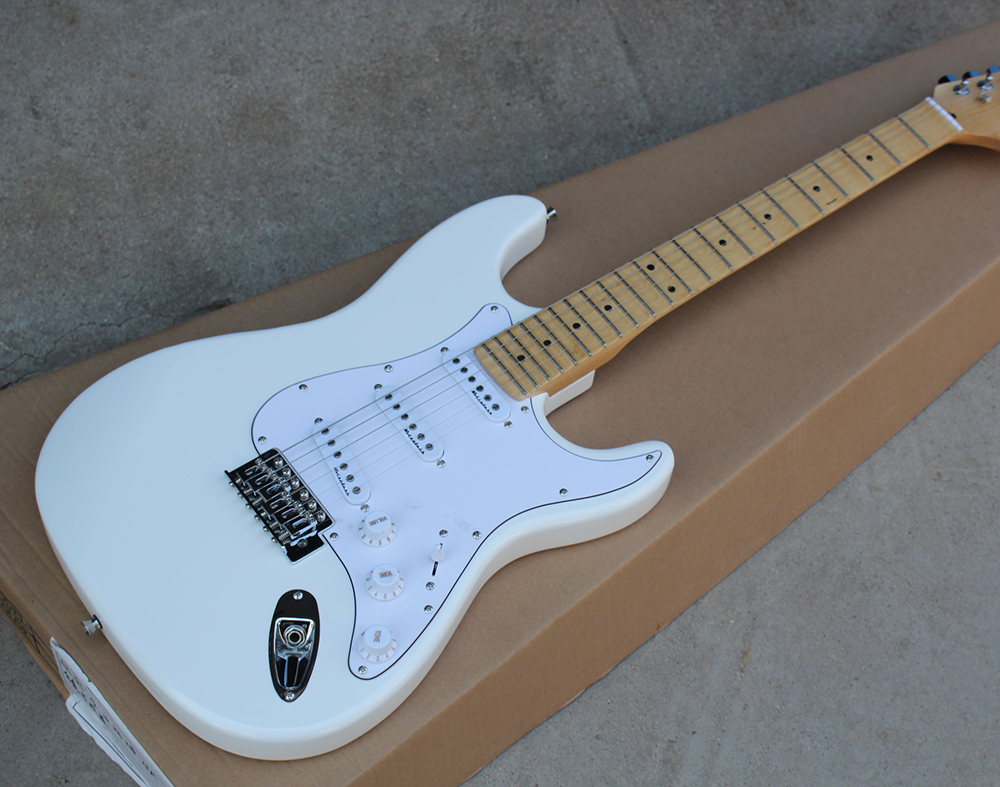 Popular Brand Factory Sale Price Electric Guitar With Scalloped Neck,white Body,big Headstock,chrome Hardware,sss Pickups,can Be Customized Easy And Simple To Handle Shoes