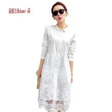 White lace dress 2017 новое прибытие женщины лето dress длинным рукавом симпатичные повседневные платья Vestidos roupas femininas бесплатная доставка