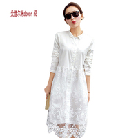 White Lace Dress 2015 New Arrival Women Summer Dress Long Sleeve Cute Casual Dresses Vestidos Roupas