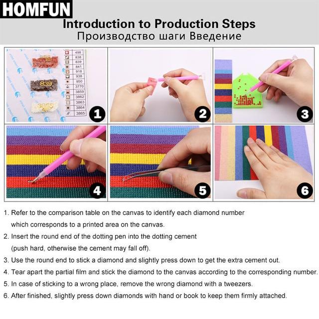 HOMFUN-5D bricolage peinture diamant   Carré complet/perceuse ronde