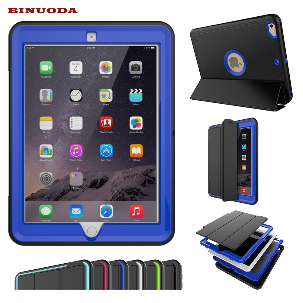 Magnetic Smart Cover For New iPad 9.7 2017 Tablet Case Shockproof Heavy Duty Rubber Hard Case for New iPad 9.7 Auto Wake / Sleep for amazon 2017 new kindle fire hd 8 armor shockproof hybrid heavy duty protective stand cover case for kindle fire hd8 2017