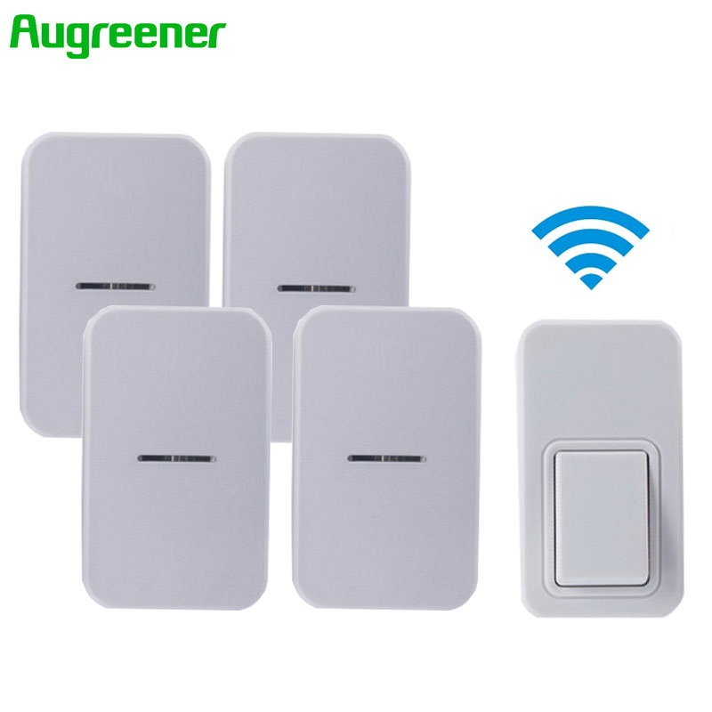 2017 Newest EU Waterproof Wireless Doorbell 220V Home Romote Electric Door Bell LED Light Wireless Bell 1Transmitter+4 Receivers dhl shipping atg100 portable mini meeting tourism teach microphone wireless tour guide system 1transmitter 15 receivers charger