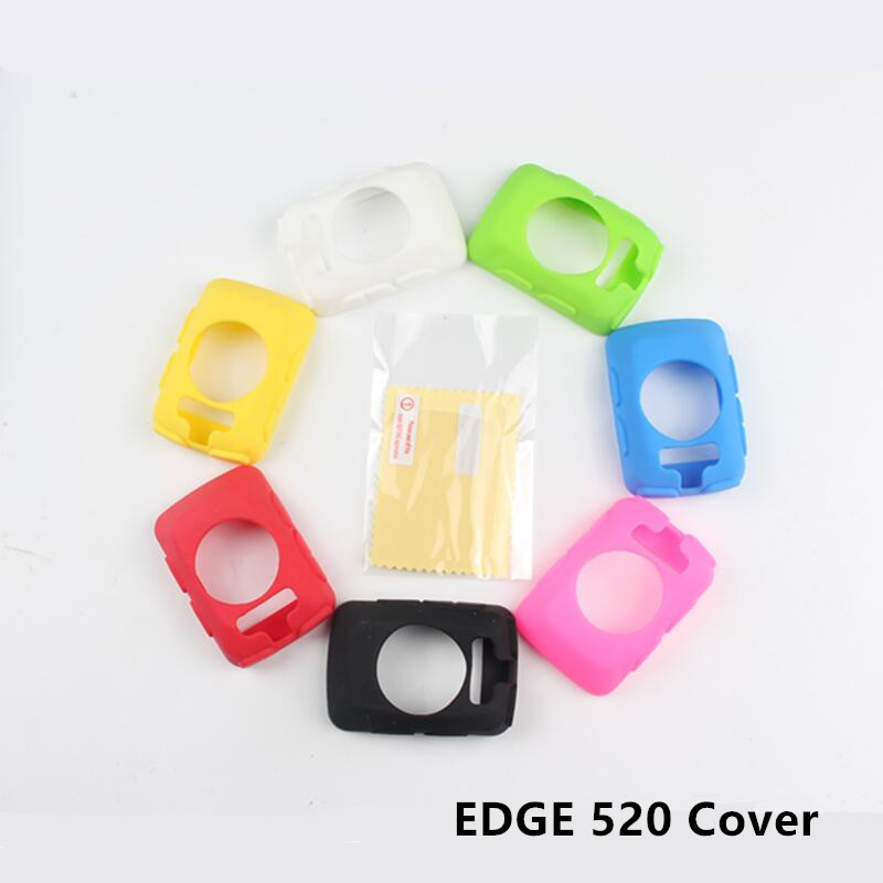 Outdoor Cycling Edge 520 Computer Silicone Rubber Protect Case + LCD Screen Film Protector For Garmin Edge 520