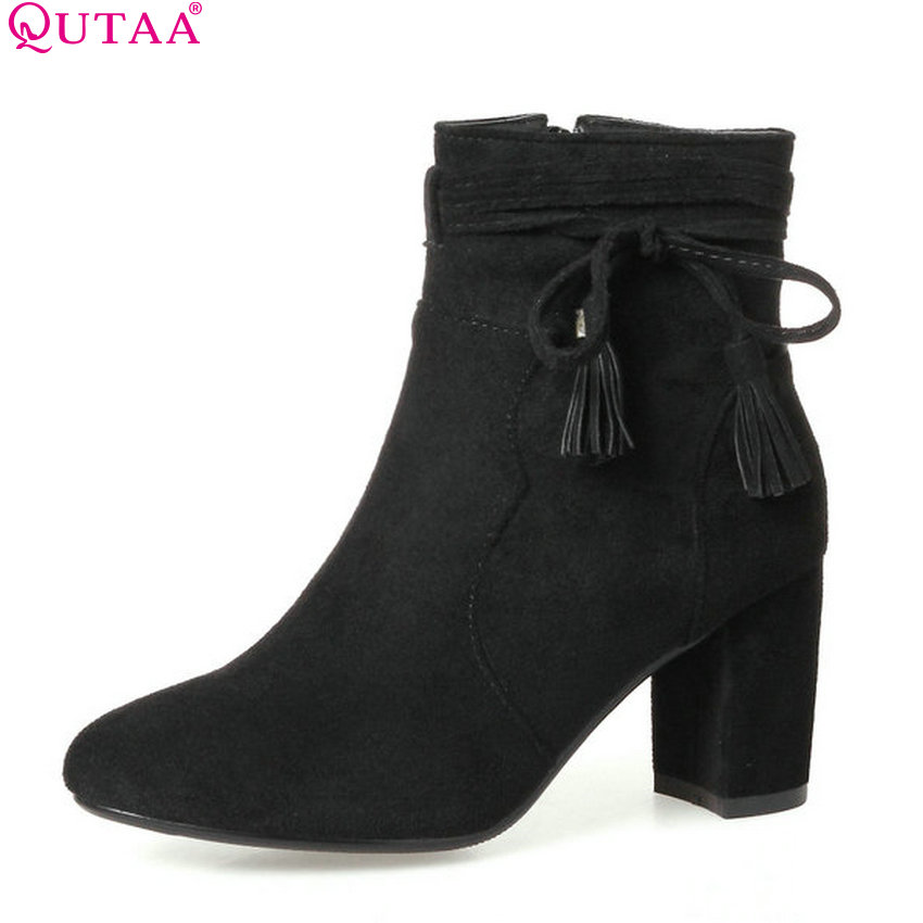 QUTAA 2018 Fashion Square High Heel Round Toe All Match Westrn High Quality Shoes Zipper Ladies Motorcycle Boots Size 34-43 qutaa 2018 women ankle boots square high heel pointed toe zipper all match women shoes ladies motorcycle boots size 34 43