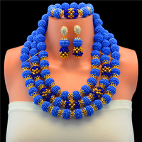 2017 Fabulous Fuchsia Blue Crystal Balls Wedding Jewelry Set Royal Blue Bridal Indian Jewellery Necklace Set Gold Color 10102
