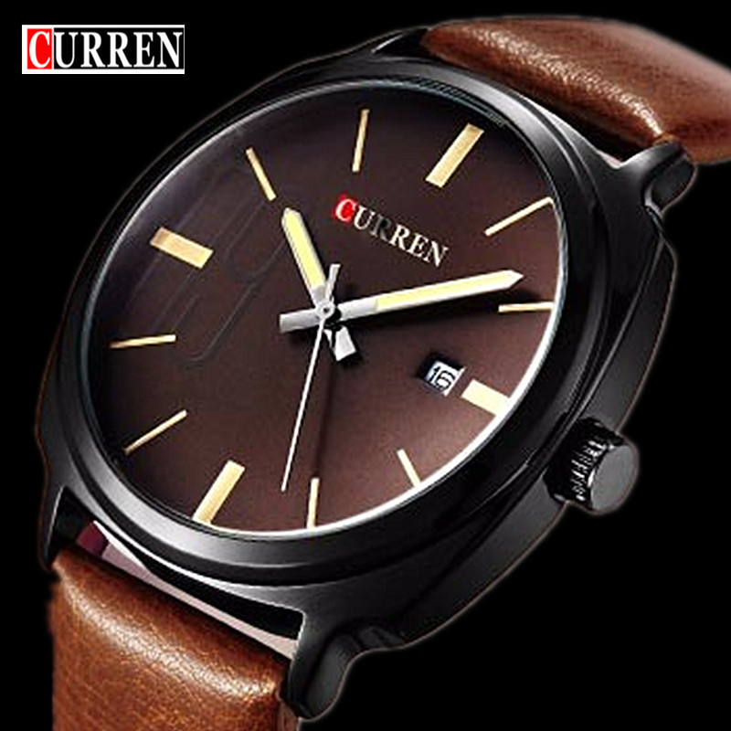 Relogio Masculino Fashion Montre Homme Reloj Hombre Quartz-Watch Curren Male Watch Leather Wristwatches Men Curren Watches Clock