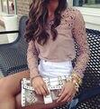 2015 Женская Мода Sheer Рукава Вышивка Кружева Крючком Tee Шифона Рубашка Топы