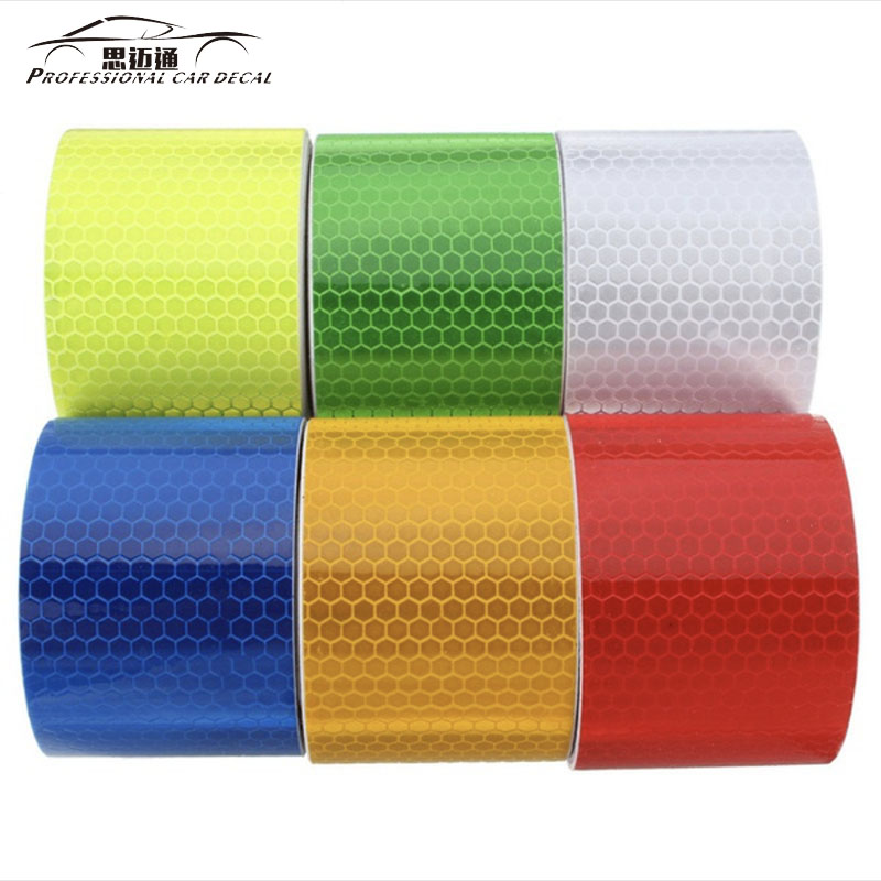 Safety Mark Reflective tape stickers car-styling Self Adhesive Warning Tape Automobiles Motorcycle Reflective Film 5cm*1m 6color 5cm 50m orange reflective pvc arrow mark warning tape self adhesive reflective safety sign road traffic guidepost adhesive film page 1