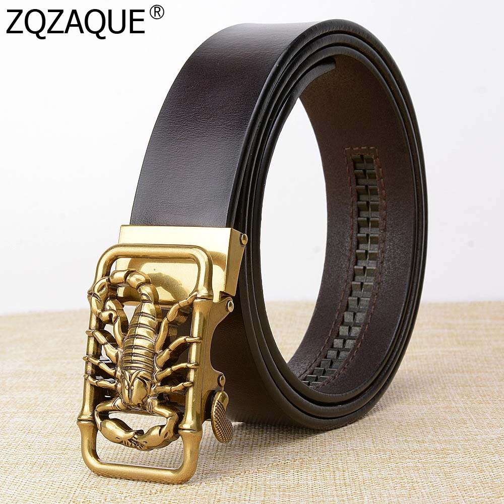 Apparel Accessories Just Gift For Men Scorpion Pattern Automatic Buckle Belts Brozen Silver Buckle Males Genuine Leather Waistbands Decor Cintos Sy1703 Promote The Production Of Body Fluid And Saliva
