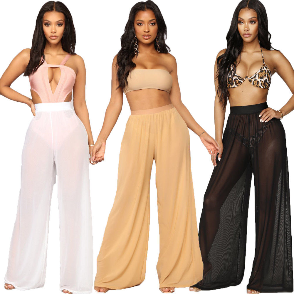 Fashion Stylish Women's Bikini Bottom Cover-Ups Sheer Mesh Chiffon Pants Beach Swimwear Swimwear Bathing Suit Trousers