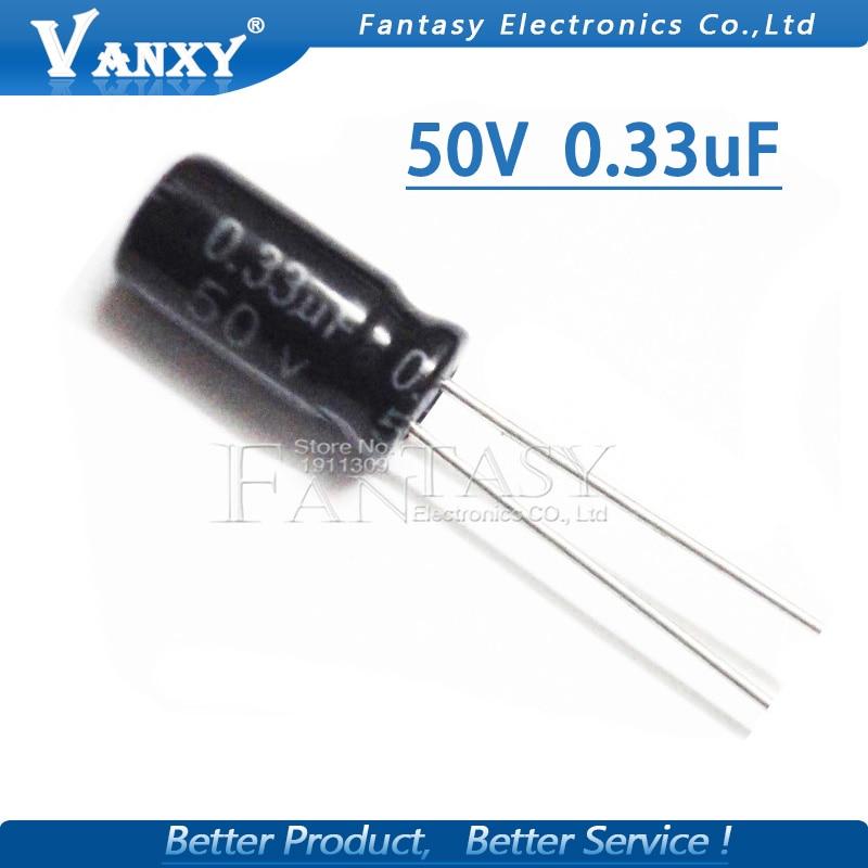 50PCS Higt Quality 50V0.33UF 5*11mm 0.33UF 50V 5*11 Electrolytic Capacitor