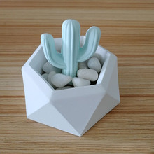 Silicone Flower Pot Molds Hexagonal DIY Garden Planter Concrete Vase Soap Candle Mould Garden Decoration Geometrics Crafts(China)