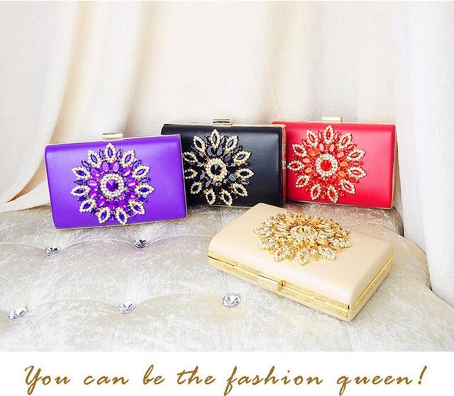 Sunflower Diamond Evening Bags Red Crystal Clutch Bag 2017 Women Bag purses and handbags wedding wallets purple bolsa clutches