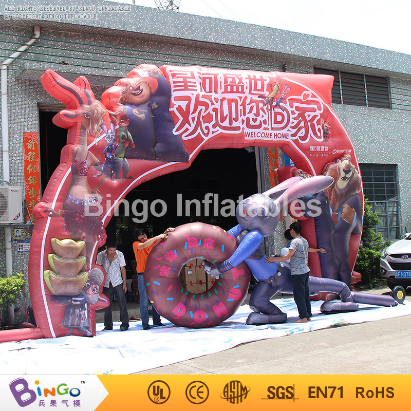 inflatable arch gate with rabbit movie theme for welcome/advertising/events theme park decoration 9.6 m BG-A0523 toy 420d oxford inflatable arch inflatable archway 6 3 m with your logo