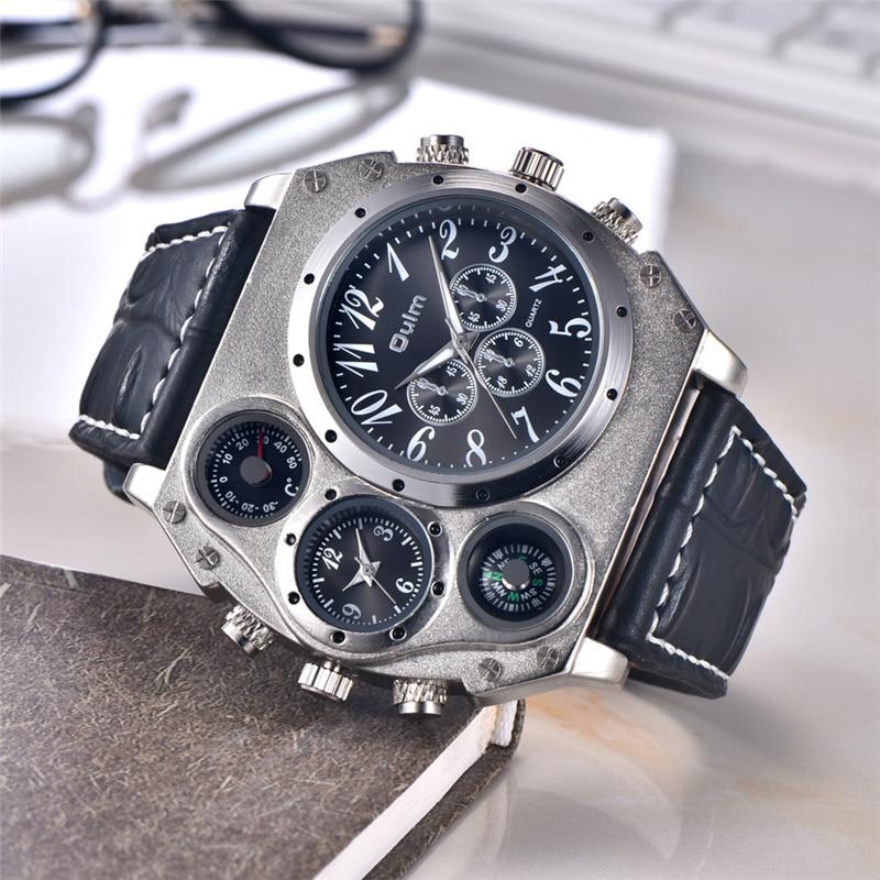 Oulm Super Large Big Watch Male Quartz Clock Unique Design Two Time Zone Decorative Thermometer Compass Men Sport Wristwatch