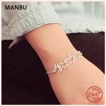 MANBU new personalized custom bracelet 100% 925 sterling silver female trendy fashion jewelry Luxury gift for women DIY