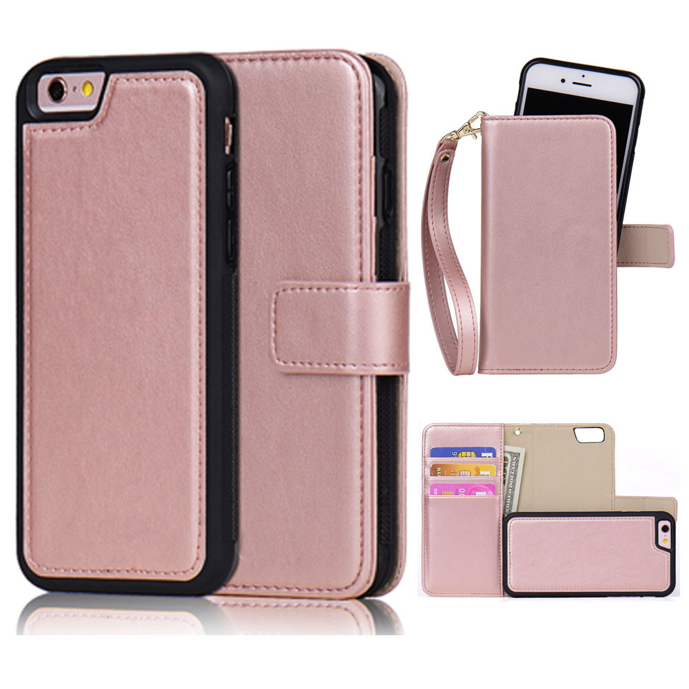 Detachable Leather Case for iPhone 6 6s Plus 5s 7 SE 2in1 Magnetic Girl Rose Gold