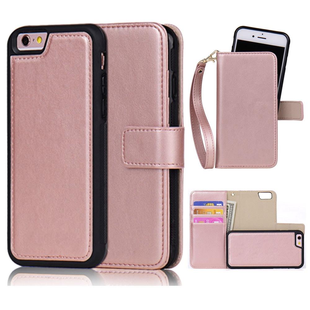 Detachable Leather Case for iPhone 6 6s Plus 5s 7 SE 2in1 Magnetic Girl Rose Gold Pink Black Flip Wallet Strap Handbag Phone Bag
