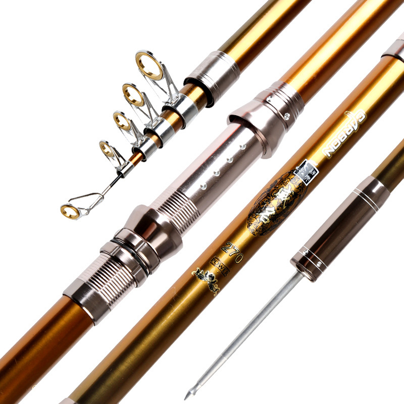 YUYU Carbon Fiber Telescopic Fishing Rod 2.1-3.6m Sea Rods Telescopic Fishing Rod Spinning Fishing Pole Metal Reel Seat Button