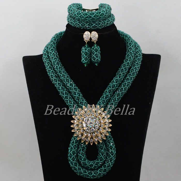Teal Green Women Christmas Gift Nigerian Wedding African Beads Jewelry Set Braid Crystal Beads Necklace New Free Shipping ABF844Teal Green Women Christmas Gift Nigerian Wedding African Beads Jewelry Set Braid Crystal Beads Necklace New Free Shipping ABF844