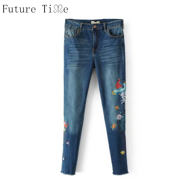 Future Time Women Denim Pants Flower Embroidery Jeans Skinny Washed Pencil Pant Casual Female Tassel Back Pockets Trousers NZ040 flower embroidery jeans female blue casual pants capris 2017 spring summer pockets straight jeans women bottom a46
