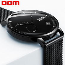 DOM Watches Men Luxury Business Man Watch Waterproof Unique Fashion Casual Black Stainless Steel Mesh Quartz Male Dress Clock цена