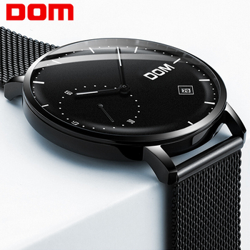 DOM Watches Men Luxury Business Man Watch Waterproof Unique Fashion Casual Black Stainless Steel Mesh Quartz Male Dress Clock dom men watches top brand luxury quartz watch casual quartz watch black leather mesh strap ultra thin fashion clock male relojes