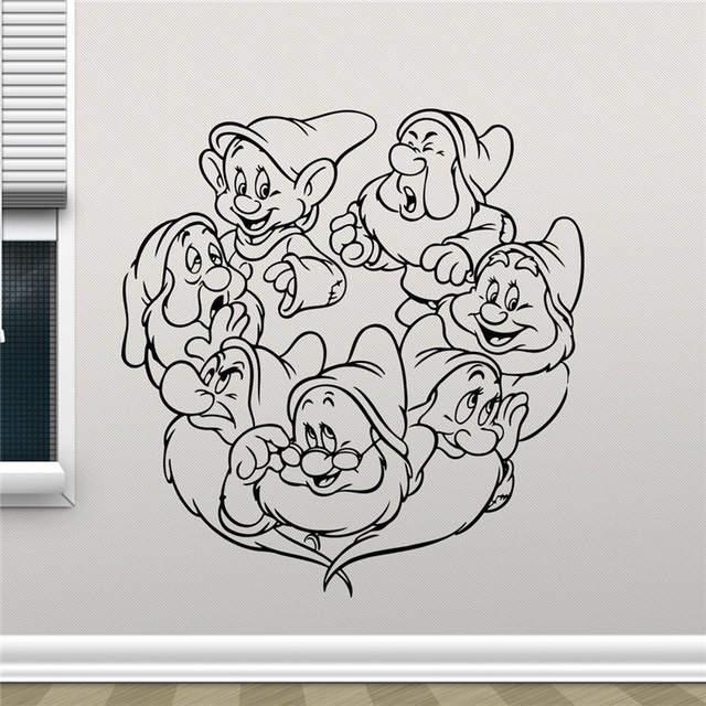 675 7 De Réductionblanche Neige Et Les Sept Nains Dessin Animé Mignon Fille Vinyle Autocollant Salon Adolescent Enfants Chambre Mur Décor Cool