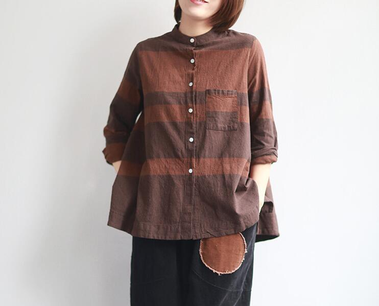 coffee Algodón Verano Moda Rayada Color Camisa Blusa Nueva Mujer Coreana  2018 Suelta Tops borgoña Yoyikamomo Primavera Sólido ... dcf3045a7d2a