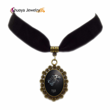 Glass Necklace Game of Thrones B&M 2016 New Oval Antique Copper Glass Black Velvet Ribbon Chokers Necklaces Short Necklace