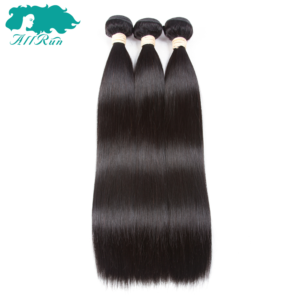 Peruvian Straight Hair Bunldes 1/2/3/4 Pieces 100% Human Hair Bundles Extensions Natural Color Non Remy Hair Weaves Allrun