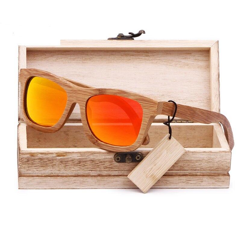 Bamboo Sunglasses Eyewear Mirrored Wood-Case Handmade Polarized Fashion With Coating
