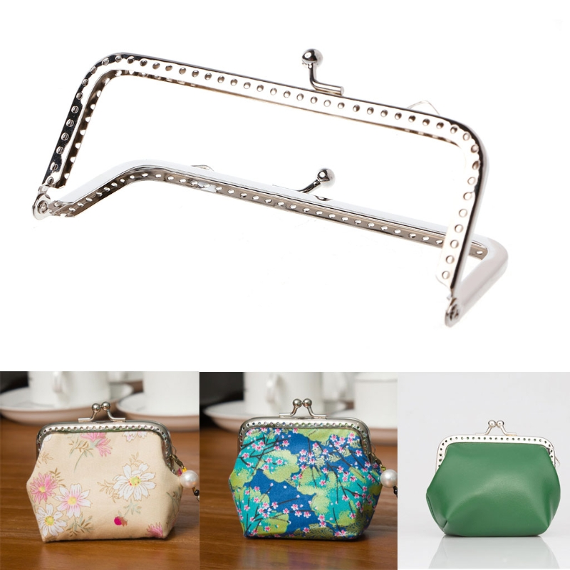 1pc Sew Holes Purse Handbag Handle Metal Coins Bag Kiss Clasp Frame 12cm