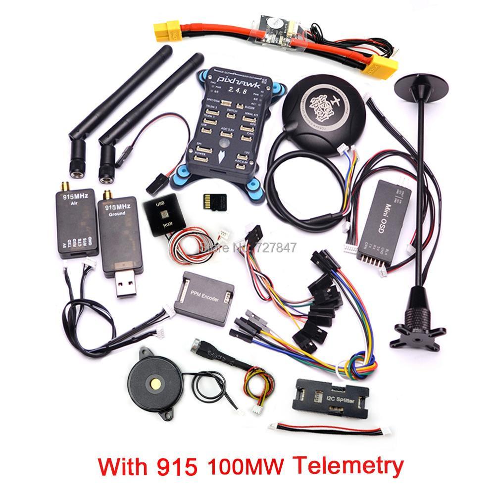 Pixhawk PX4 PIX 2.4.8 32 Peu Vol Contrôleur + 433/915 Télémétrie + M8N GPS + Minim OSD + PM + Interrupteur de sécurité + Buzzer + RGB + PPM + I2C + 16G SD - 3