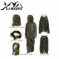 SJ Maurie Hunting Clothing 5Pcs Camouflage Hunting Ghillie Suit Secretive Hunting Clothes Sniper Army Camo Jungle Tactical Suit