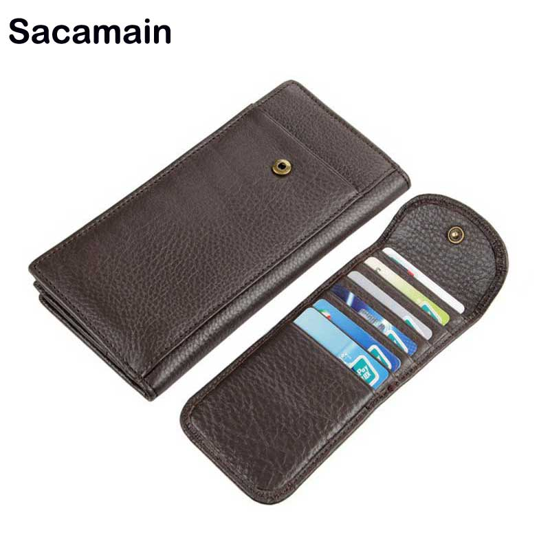 Handmade Leather Wallets Coin Purse Male Cuzdan Clutch Long Business Walet Portomonee Magic Perse Wallet Organizer Men Wallet