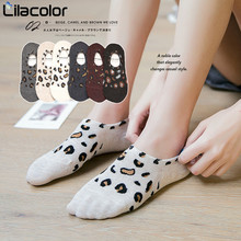 1 Pair Women Casual Socks Leopard Cotton Lady Sock Spring Summer Boat Invisible Slippers Short
