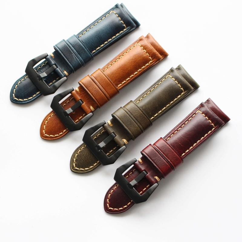 High Quality 22MM 24MM 26MM High Quality Oil Red Brown Vintage Genuine leather Watchbands For PAM111 PAM/Panerai Watch Strap new arrive top quality oil red brown 24mm italian vintage genuine leather watch band strap for panerai pam and big pilot watch