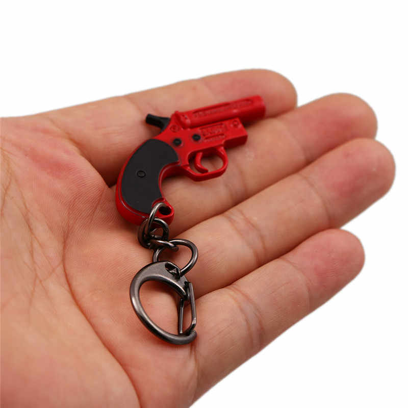 Nuevo juego PUBG Revolver 8,0 cm Flare Gun 3 tamaño llavero pubg pistolas de juguete llavero de metal cadena hombres coche mujer bolsa joyería regalo