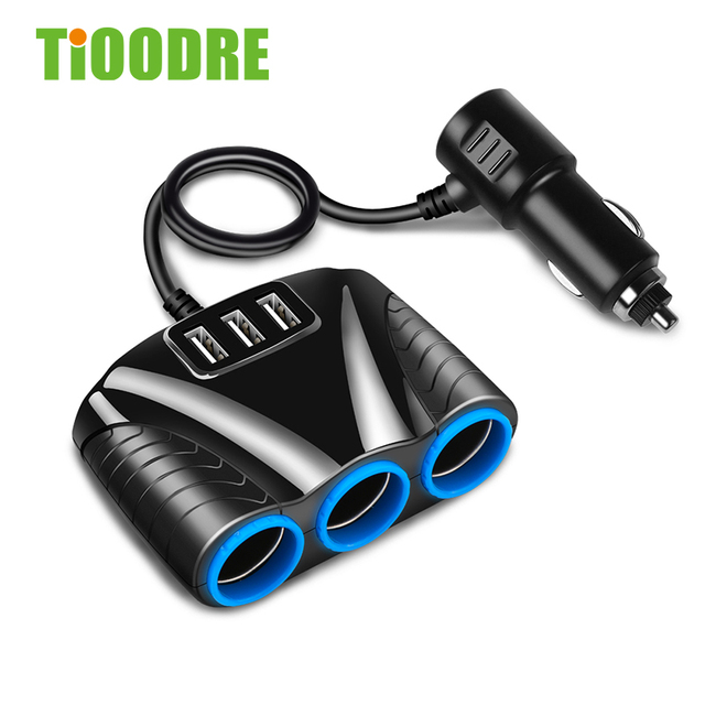 TiOODRE 3 USB Port 3 Way 3.1A Blue Led Car Cigarette Lighter Socket Splitter Hub Power Adapter 12V-24V  For  IPad Smartphone