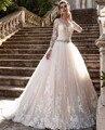 Vestido de noiva Vintage Mangas Compridas Vestidos de Casamento Sheer Tulle Voltar Lace Apliques Vestidos de Casamento Vestido De Noiva Pérola